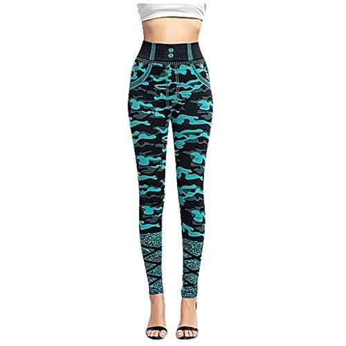 LOPILY Hose Damen Camouflage Strumpfhosen High Waist mit Vorne Taschen Yoga Leggings Damen Lang Hüfthose Sportlich Stretchhose Push Up Röhrenhosen Damen Tailliert mit Weitem Band (Blau, XL)