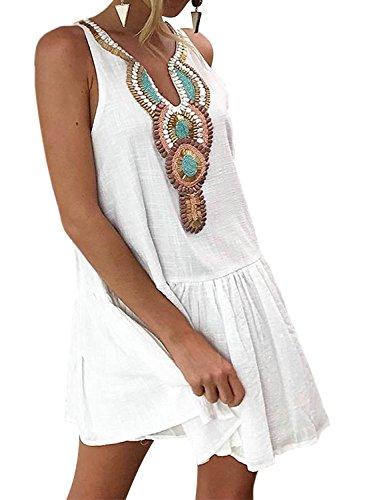 Minetom Vestido para Mujeres Verano Sin Mangas Boho Impresión Vestido De Partido Retro Bohemia V Cuello Playa Vacaciones Swing Dress Blanco ES 38