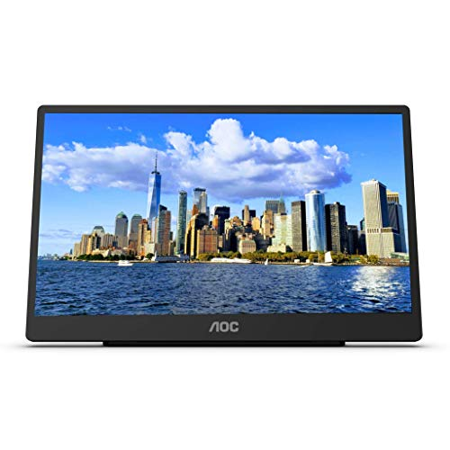 "AOC 16T2 15.6"" Full HD (1920 x 1080) Touch-Enabled Portable IPS Monitor, USB-C and Micro HDMI inputs, Built-in Battery, Stereo Speakers, SmartCover, AutoPivot, VESA. for laptops, PC, Mac, Consoles"
