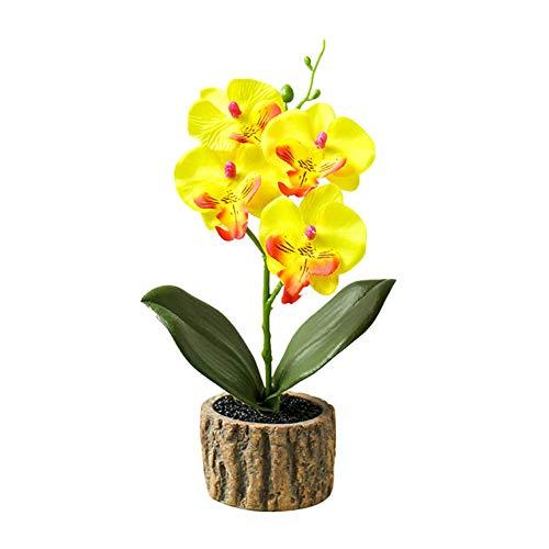 yibenwanligod Künstliche Blume Schmetterling Orchidee Bonsai Garten Diy Hochzeit Teil Die Schönste Desktop Ornament Gelb