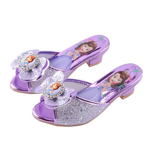 Fanessy Zapatos Princesa niña Zapatos de Vestir de tacón Alto con Lentejuelas...