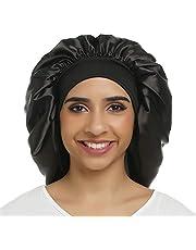 Satijnen slaapmuts dames grote satijnen motorkap zijde nachtmuts elastische band satijn bonnet Night Cap voor krullend haar lang haar haarverzorging