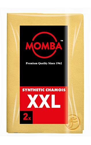 Momba® Peau DE Chamois SYNTHÉTIQUE XXL Lot de 2 – particulièrement appropriée pour Le Nettoyage des Voitures, Bateaux et caravanes. Qualité Professionnelle