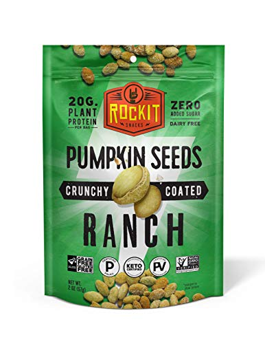 Rockit Snacks Gluten Free Vegan Protein Pumpkin Seeds | Crunchy and Savory Roasted Pumpkin Seed Vegan Snacks with 100% Plant Protein Ingredients | Certified Paleo and Keto Food | Ranch - 6pack
