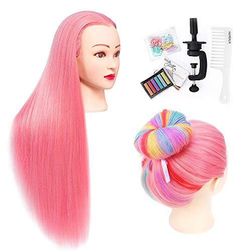 HAIREALM 26 Mannequin Head Hair Styling Training Head Manikin Cosmetology Braiding Doll Head Synthetic Fiber Hair (Table Clamp Stand Included) SA192W