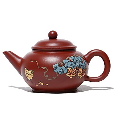 Zisha Teekannen Über 200ml Handbemalte Yixing Teekanne Masters Handmade Kettle Ore Purple Clay Kreatives Teegeschirr