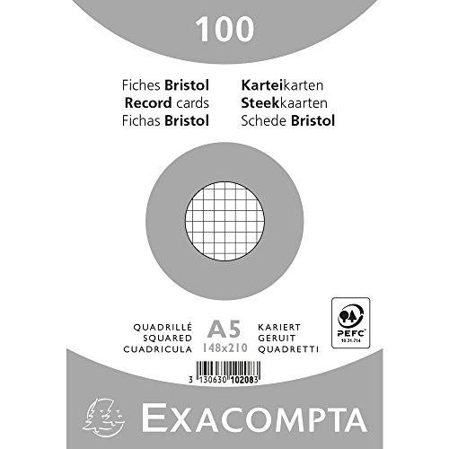 Exacompta 10208E Karteikarten (Packung mit 100, 250g, in Folie eingeschweißt, DIN A5, 14,8 x 21 cm, kariert, ideal für die Schule) 1er Pack weiß