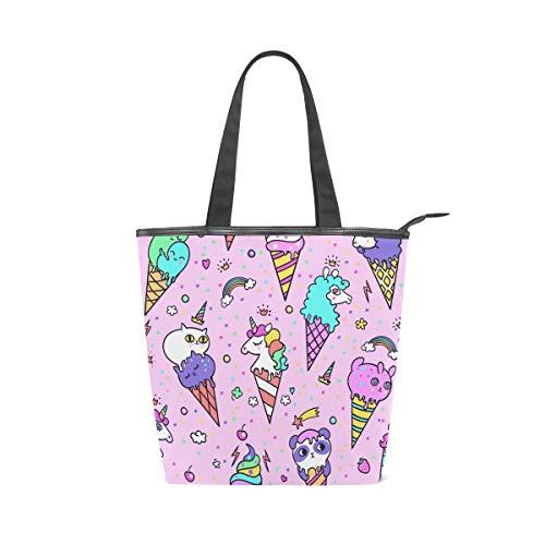 Jeansame Canvas Tote Bag Vrouwen Shopper Top Handvat Tassen Schouder Handtassen met Rits Leuke Eenhoorn Ice Cream Verjaardag