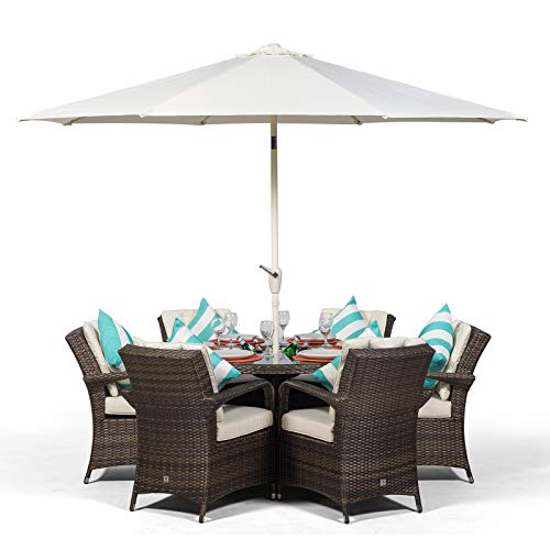 Arizona 6 Seater Brown Rattan Dining Set with Ice Bucket Drinks Cooler | Outdoor Poly Rattan Garden Table & Chairs Set with Parasol & Cover