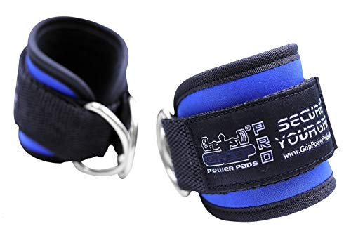 Grip Power Pads Best Ankle Straps for Cable Machines Double D-Ring Adjustable Neoprene Premium Cuffs to Enhance Legs, Abs & Glutes for Men & Women (Blue, Single)
