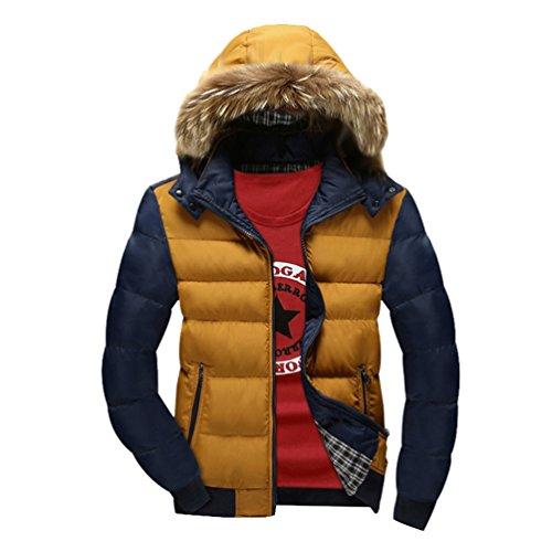 YuanDian Uomo Invernali Imbottito Cappotto con Cappuccio Collare in Eco-Pelliccia Addensare Caldo Impermeabile A Prova di Vento Piumino Giacca Parka Giubbini (Senza t-Shirt)