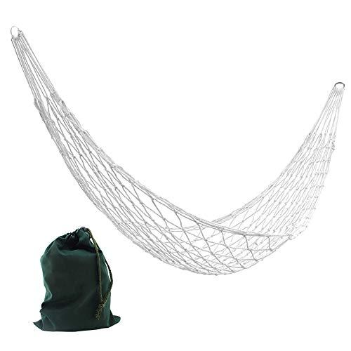 Ganquer Hamac de randonnée épais pour sports de plein air avec sac de rangement 260 cm, Pas de zéro, blanc, about 260x80 cm(l*w)