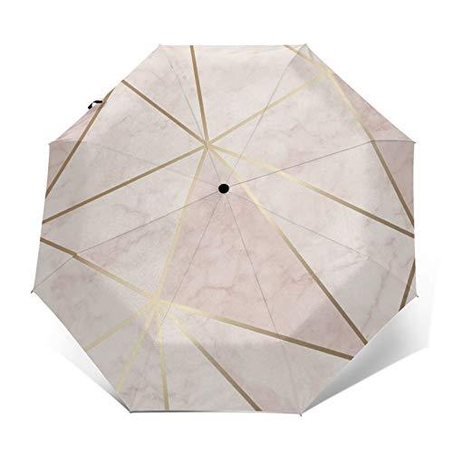 Zara Regenschirm, metallisch, weich, rosa, goldfarben, winddicht, faltbar, wasserabweisend, automatisch, dreifach faltbar, leicht, kompakt