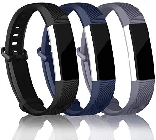 バンド for Fitbit Alta/Fitbit Alta HR 交換ベルト TPU素材 サイズ調整可能 穴留め式 男女兼用 ホライゾン-工場直売&品質保証あり (3色:黒,グレー,青, small1)