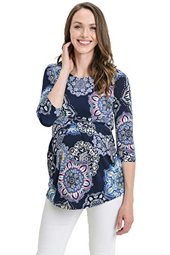 Product Image of the LaClef Women's Round Neck 3/4 Sleeve Front Pleat Peplum Maternity Top (Navy...