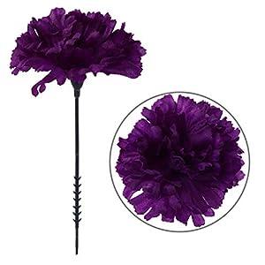 Larksilk Purple Silk Carnation Picks, Artificial Flowers for Weddings, Decorations, DIY Decor, 50 Count Bulk, 3.5″ Carnation Heads with 5″ Stems