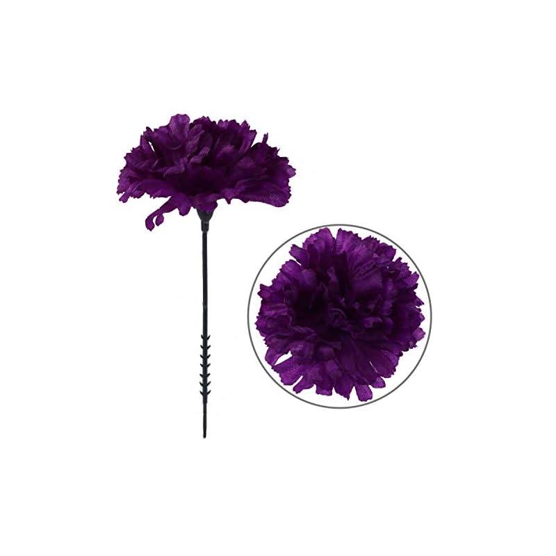 "silk flower arrangements larksilk purple silk carnation picks, artificial flowers for weddings, decorations, diy decor, 50 count bulk, 3.5"""" carnation heads with 5"""" stems (amz0501pp)"