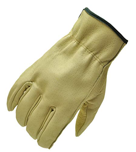 G & F 2002L-3 Full Grain Pigskin Leather Work Gloves, Drivers Gloves, Premium Washable leather, Size Large. (Value Pack: 3 pairs)