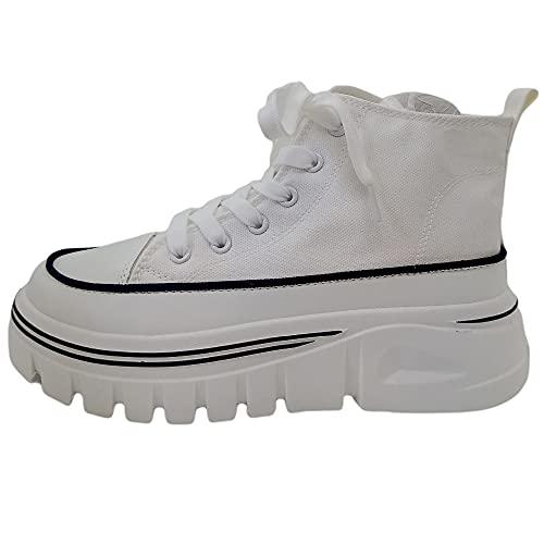Zapatillas Mujer Plataforma Alta Estilo Deportiva Modernas de Lona (Blanco, Numeric_41)