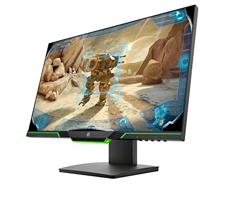 HP 25x Monitor Gaming TN, FHD,144Hz, 1ms, Amd Freesync, Regolabile in Altezza, Audio Output, Low Blue Light, Luce Ambiente Verde