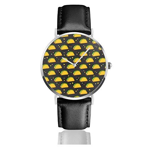 Yummy Taco Klassische Casual Fashion Quarzuhr Edelstahl Lederband Uhren