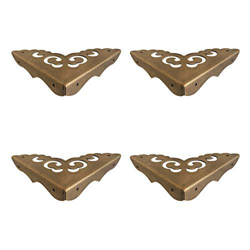 Tiazza 4Pcs Antique Brass Edge Corner Protectors Vintage Design Decorative Corner Braces for Wood Cabinet Furniture Jewelry Box (Side Length:2.56'/65mm)