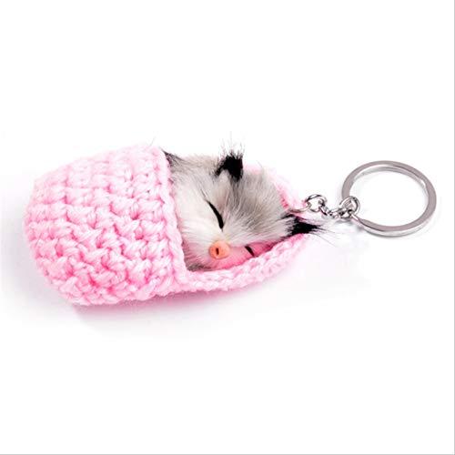 Idiytip Nette Schlafende Katze Pompon Schlüsselanhänger Handgemachte Kunstpelz Kätzchen Schlüsselanhänger Auto Schlüsselanhänger Für Frauen Mädchen, Rosa