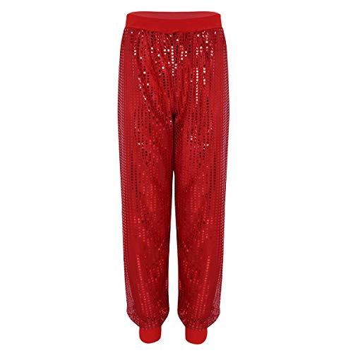 Alvivi Damen Pailletten Haremshose Frauen Jazz Hose Tanz Pants glänzend Streetwear Club Hosen Palazzo Hose Rot L/XL