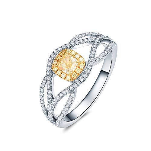 AmDxD Echte Goldserie, 18K Weißgold Verlobungsringe, AugenlinieRinge für Damen, Ringe zum Jahrestag, Solitärring, mit Diamant, Silber, Gr.67 (21.3), Hochzeitsgeschenke