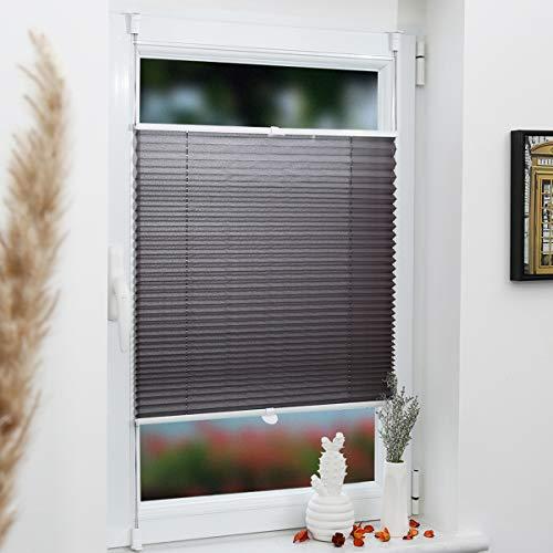 Grandekor Plissee Klemmfix Pliseerollo ohne Bohren 105x120cm (BxH) Anthrazit, Lichtdurchlässig Faltrollo Jalousie Rollos für Fenster & Tür inkl. Klemmträger, Sicht- und Sonnenschutz