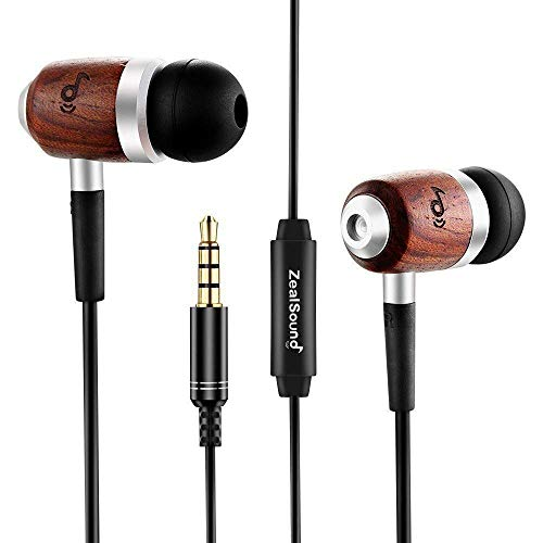 ZealSound HDE-300 in-Ear Noise-isolating Genuine Wood Headphones with Mic, Fiber Cable -Black