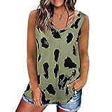 Fcostume Damen Tank Top Sommer Ärmellose Blusentop Leopard Drucken V-Ausschnitt Weste Top Casual Shirt Tops Bluse