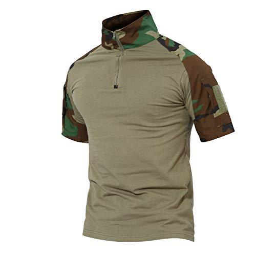 MAGCOMSEN Herren Armee T-Shirt Tactical Hemd Militär Kleidung Outdoorshirt für Männer Jagd Sweatshirt Camouflage Shirt BDU T-Shirt Woodland XL