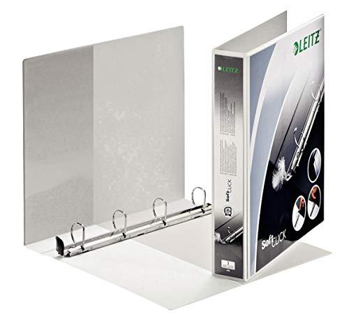 Leitz Raccoglitore personalizzabile a 4 anelli SoftClick, Per presentazioni, Formato A4 Maxi, Dorso 5.1 cm, Polipropilene, Bianco, Premium, 42020001