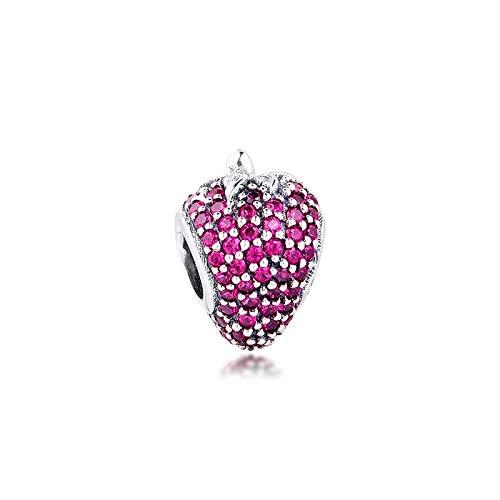 LISHOU Se Adapta A La Pulsera Pandora Argent Charm 925 Sterling Silver Pave Strawberry Charms Beads para DIY Women Jewelry Making