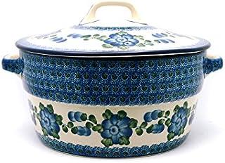 Polish Pottery Baker - Round Covered Casserole - Blue Poppy