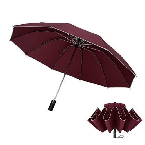 Regenschirm Taschenschirm Umgekehrter Umbrella Taschenschirm Automatik 10 Edelstahl-Rippen stetig windsicher Taschenschirme, Auf-Zu-Automatik, Windsicher, Stabil (Wein rot)