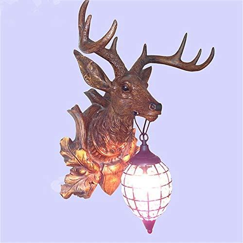 YICOOWEALTH Lámpara de pared creativa americana con cuernos de cuernos con personalidad, luz retro, corredor, dormitorio, cabeza de ciervo, lámpara de pared, Zb