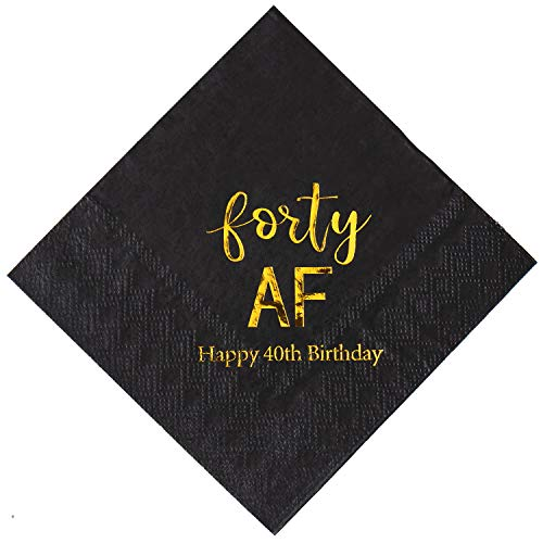 Crisky 40th Birthday Napkins Black Gold Forty 40th Birthday Cocktail Napkins Beverage Napkins 40th Birthday Party Candy Table Decoration, 50 Count, 3-Ply