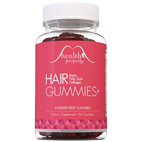 HEALTH PROPERLY - New Formula! Hair Gummies Plus for Healthy Hair Growth | Now with Collagen & 6000mcg Biotin | Hair Skin Nails Vitamin Gummy for Men & Women | Stronger Faster Healthier