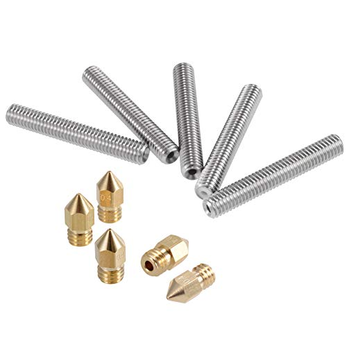PChero 5 piezas M6 acero inoxidable Teflón boquilla + 5 piezas 0,4 mm latón extrusora boquilla cabezales de impresión para Anet A8 MK8 Reprap 3D impresoras, 40mm, 1