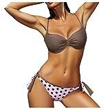 BSbattle 2020 - Bikini para mujer con estampado de lunares, talla grande, traje de baño Biquini#4 - Gris - Large