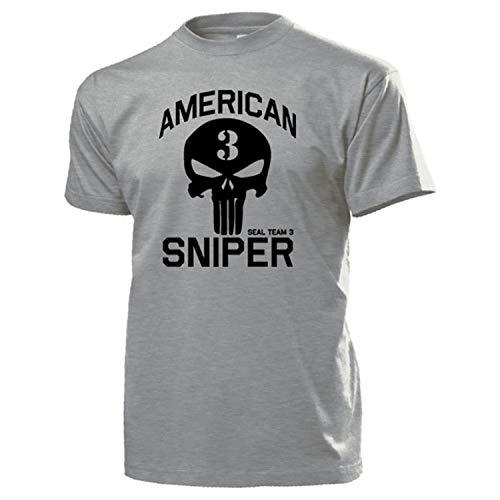 American Sniper Scharfschütze Navy Seal Team 3 Seals T Shirt #15936, Größe:S, Farbe:Grau