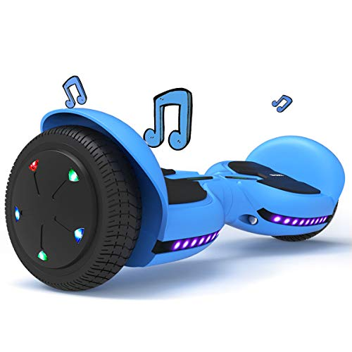 TOMOLOO Hoverboard with Bluetooth Speakers and Led Lights, Two Wheels Electric Self Balancing Hover Board for Kids & Adults- UL2272 Certified (Blue)