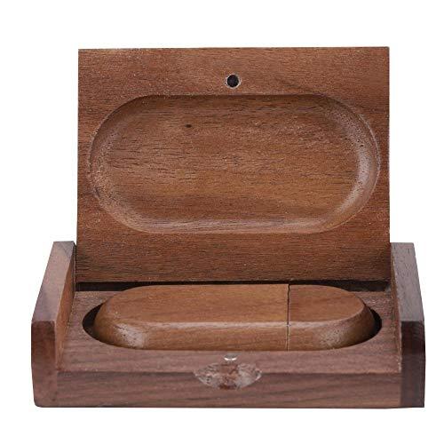 ASHATA Houten USB-stick U-plaat ovaal USB-stick 2,0 U-plaat met opbergdoos van hout als verjaardagscadeau, 32 G
