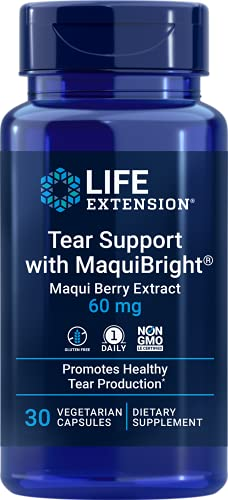 Life Extension Tear Support with MaquiBright - Helps Promote Tear Production & Eye Health From the Inside Out - Non-GMO, Gluten-Free – 30 Vegetarian Capsules