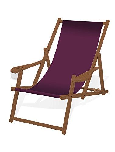 Holz-Liegestuhl mit Armlehne und Getränkehalter, Klappbar, mit dunkelbrauner Lasur, Wechselbezug (Aubergine)