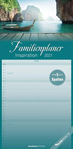 Familienplaner Inspiration 2021 - Familien-Timer 22x45 cm - mit Ferienterminen - 5 Spalten - Wand-Planer - mit vielen Zusatzinformationen - Alpha Edition