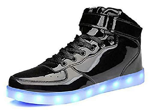 MOHEM ShinyNight High Top LED Shoes Light Up USB Charging Flashing Sneakers(1687003ShiningBlack33)