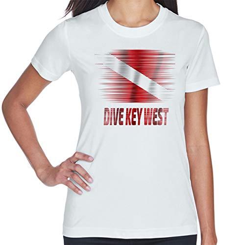 Makoroni .. Dive Key WEST Scuba Diving Des#3 Women's Short Sleeve T Shirt White